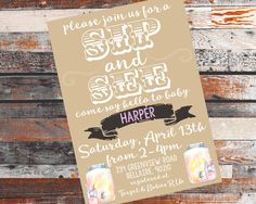 Sip and See invitation for a baby shower! Girl OR Boy. BlueHouseCollection.etsy.com