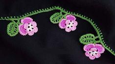 Menekşeli Oyayı Siyah Tülbentte Kullanmak - Videolu Anlatım #iğnelimotiftekniği #menekşeiplikoyası #oya #siyahyazma #tığ Crochet Butterfly, Crochet Flower Patterns, Butterfly Flowers, Baby Knitting Patterns, Crochet Flowers, Embroidered Clothes, Needle Lace, Diy And Crafts, Knit Crochet