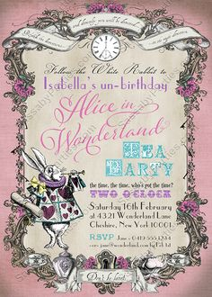 Alice in Wonderland Invitation Pink Pastel by SassabyParties Tea Party Invitations, Pink Invitations, Baby Shower Invitations, Alice In Wonderland Invitations, Alice In Wonderland Tea Party, Party Co, Nye Party, Party Ideas, Theme Ideas