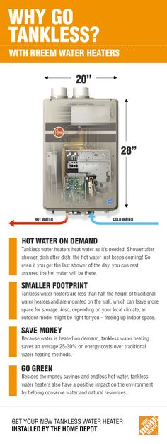 Tankless water heaters will help you save space and money. Unlike traditional water heaters, gas or electric tankless heaters only heat water when you need it, on-demand. This efficient method can save you thousands of dollars over the machine's lifespan. Whether your goal is to save space, money or the environment, consider an indoor or outdoor tankless water heater, and you'll never have to wait for hot water again. Click to learn more and find the right model for you.