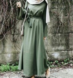 hijab longue robe vert #hijab #style #hijabstyle #beautiful #élégance #classforever