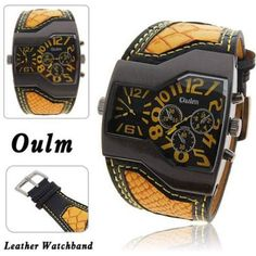 Brand Oulm Luxury men& military Wrist watch, man Dual Quartz Movement/Leather strap fashion dress sports watches Brand Oulm Luxury men's military Wrist watch, man Dual Quartz Movement/Leather strap fashion dress sports watches - Sport Watches, Cool Watches, Watches For Men, Men's Watches, Stylish Watches, Jewelry Watches, Skeleton Watches, Swiss Army Watches, Watch Brands