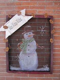 Winter Welcome Signs on Old Window Screens