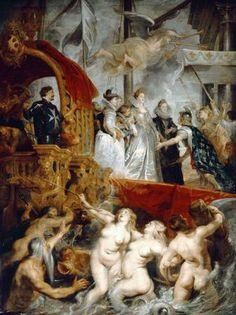 The Landing of Marie de Médicis at Marseilles. Rubens. 1623-1625.  Oil on canvas. 394 x 295 cm. Musée du Louvre. Paris.