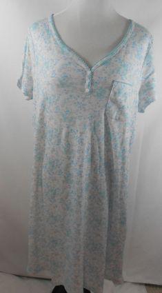 Karen Neuburger L Large Nightgown Sleepwear Cotton Blend New Blue Gray Floral New Blue, Blue Grey, Gray, Clothing Deals, Women's Clothing, Womens Pjs, Cotton Sleepwear, Cute Clothes For Women, Nightgown
