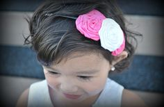 GroopDealz | School Colored Rolled Ribbon Flowers headband