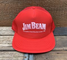 76820a90f0b JIM BEAM Kentucky Bourbon Vintage 80s Red Snapback Trucker Hat