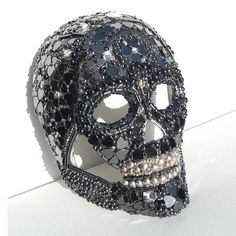 Black Steampunk Crystal Skull Magical Mask - Day of the Dead Hematite Pearl Onyx Gem Stones