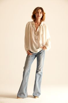 jeans bootleg top blouse off white draped necklace pearl