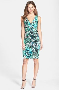 This tropical print, modern summer dress is colorful without being too loud.