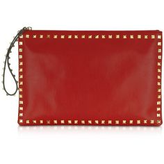 Valentino Garavani Rockstud Red Leather Zippered Clutch (¥92,785) found on Polyvore