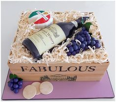 Wine Bottle in a box birthday cake. The perfect birthday cake design for the wine lover! All fully edible! Wine lable can be customised!