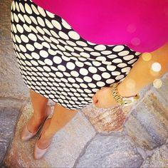 Azalea pink shirt, black and white polka dot skirt