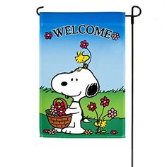 Peanuts Snoopy U0026 Woodstock *WELCOME* Spring/Summer One Sided Decorative Garden  Flag (