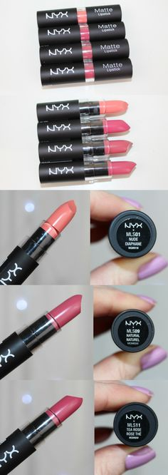 NYX Matte Lipsticks Matte lipsticks are possibly my favourite finish when it comes to lipstick choices these days. Nyx Matte Lipstick Review, Lipstick Brands, Gloss Lipstick, Matte Lipsticks, Liquid Lipstick, Nyx Cosmetics Dupes, Mac Eyeshadow Dupes, Benefit Cosmetics, Elf Dupes