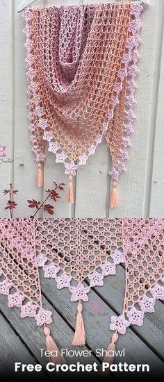 Tea Flower Shawl Free Crochet Pattern #crochet #crafts #fashion #style #ideas #shawl #handmade #homemade