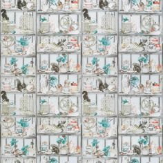 Curio Fabric from the Osborne & Little Enchanted Gardens Fabric Collection, featuring dresser shelves full of fascinating curios, in soft grey with hints of coral, turquoise and mustard. Grey And Coral, Coral Turquoise, Osborne And Little, English Love, Design Repeats, Custom Made Furniture, Enchanted Garden, Burke Decor, Pattern Names