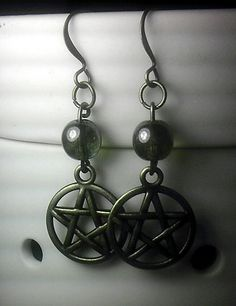 Czech Glass Bead and Pentacle Earrings Blessed Be by SpellboundToo, $13.00