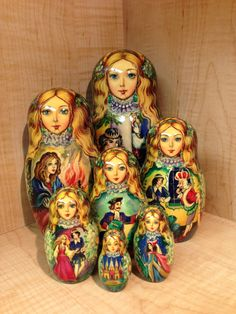 "Russian Matryoshka Cinderella Fairy Tale by Chmeleva Nesting Doll 8 5"" Set of 7   eBay"
