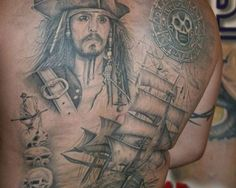 Pirates Of The Caribbean Full Back Tattoo