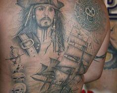 Pirates Of The Caribbean Full Back Tattoo