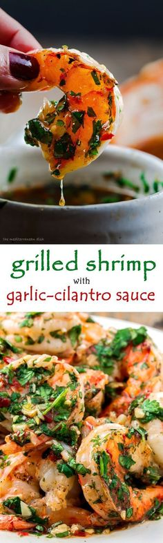 Grilled Shrimp with Roasted Garlic-Cilantro Sauce. Easy and o-so-delicious appetizer! From The Mediterranean Dish. #seafoodrecipes