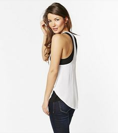 Look fabulous with this monochrome double layer tank!