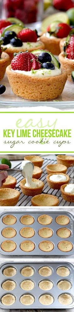 EASY Key Lime Cheesecake Sugar Cookie Cups ~ No bake cheesecake filling nestled in soft sugar cookie dough cups made from pre-made cookie dough. doesn't get much simpler or delicious - Perfect for any occasion, like Easter or baby/bridal showers! No Bake Cheesecake Filling, Key Lime Cheesecake, Cheesecake Recipes, Cookie Recipes, Dessert Recipes, Cheesecake Cups, Homemade Cheesecake, Classic Cheesecake, Dessert Cups