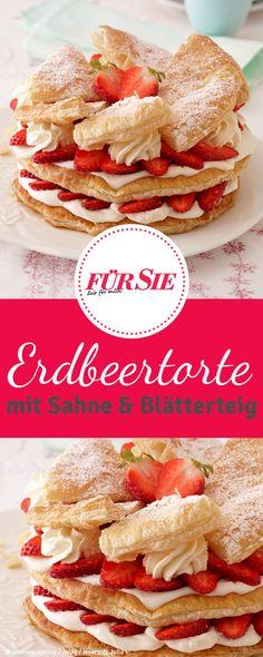 Rezept für Erdbeer-Sahnetorte mit Blätterteig Superfood, Camembert Cheese, Buffet, Dairy, Sweets, Bread, Desserts, Drinks, Blog