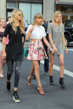 With Gigi Hadid and Martha Hunt out in New York City.   - ELLE.com
