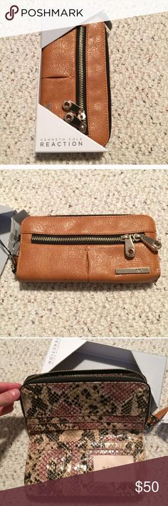 "Kenneth Cole Reaction Clutch NWT Description: measurements @ L 7.5"" x H 4"" x 1"". Holds 10 individual cards, and can hold an iPhone 6 or 7 in pelican tough case.  Defects: None Condition: New with Tag Smoke free home with cats and dogs. Kenneth Cole Reaction Bags Clutches & Wristlets"