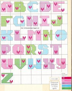 ~ Pin by Bette Goldenberg on Needlepoint patterns- ideas Cross Stitch Alphabet Patterns, Cross Stitch Letters, Cross Stitch Boards, Needlepoint Patterns, Cross Stitch Designs, Cross Stitch Embroidery, Stitch Patterns, Hama Beads Design, Hama Beads Patterns