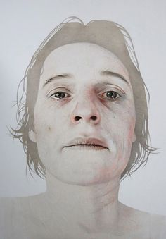 """Beyond Grief"" - Annemarie Busschers, pencil, acrylic, Japanese paper on cotton, 2011 {contemporary figurative artist female head woman face portrait painting} annemariebusschers.com"