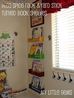 Like the Ikea spice-racks-turned-book-shelf, but what really caught my eye was the guided reading poster on the other wall... wonder if I can get the office to blow mine up with the new poster maker and laminate it for my guided reading center?!