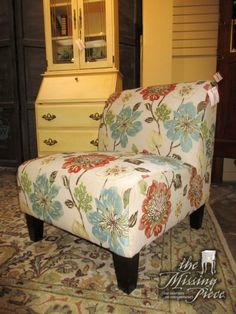 "Transitional style floral patterned slipper chair on dark feet. Nice accent piece for your home. Could be used in a bedroom or a living room. 26""wide x 30""deep x 31""high. At posting, we have four of these!"