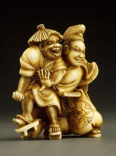 Tadamori and the Oil Thief Netsuke ~ Chingendō Hidemasa (Japan, active early 19th century) ~ Ivory with staining, sumi, inlays