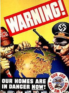 US War Propaganda Poster, using fear and depicting Hitler and Japan invading America Guerra Total, Ww2 Propaganda Posters, Political Posters, Military History, World War Ii, Vintage Posters, Retro Posters, Movie Posters, Wwii