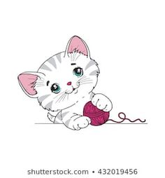 Dealing With Cat Allergies Kitten Cartoon, Cute Cartoon, Kitten Drawing, Cat Allergies, Emoji Love, Cat Coloring Page, Baby Painting, Dibujos Cute, Cat Gifts