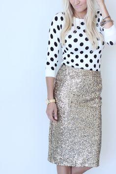 Sequin Pencil Skirt - Gold
