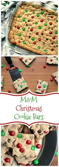 M&M CHRISTMAS COOKIE BARS by http://foodyschmoodyblog.com