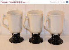 50% OFF Black Friday Sale Vintage Hall China Black and White Footed Irish Coffee Mugs
