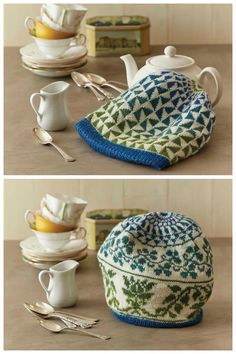 Keep your tea piping hot with this beautiful and functional double-layered tea cozy. One side features a fun geometric design, the other, an elegant floral motif.