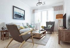 drewniane proste meble i dekoracje w aranżacji salonu