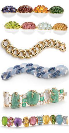 Multi-coloured gemstone bracelets by Seaman Schepps