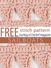 Free Sailboats Crochet Stitch Pattern from Crochet! magazine. Download here: http://www.crochetmagazine.com/stitch_patterns.php?page=1 crochet stitches, sailboat stitch, free stitch, crochet patterns, stitch patterns