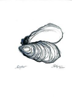 Grabado de ostra acuarela y pluma ilustración por TiffanyPelczART