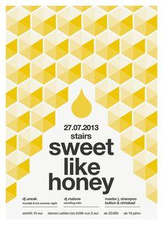 Sweet like honey - Graphic Design - Poster, Print, Swiss Design, International Typographic Style, Helvetica Typography, Honey, Honeycomb, Minimal, Yellow, Black