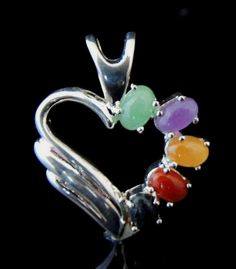 Vintage RAINBOW of Color  Natural JADE Heart Pendant in STERLING - New Old Stock from Jewelry Store  #jade #heart #heartpendant #pendant #sterling #finejewelry #colorsofjade