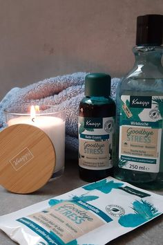 Kneipp Goodbye Stress Pfegeserie  #Kneipp Positive Energie, Candle Jars, Candles, Stress, Beauty, Shower, Mint, Candy, Candle Sticks