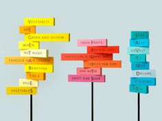 Creative Signage, Jpg, Signposting, and Colour image ideas & inspiration on Designspiration Wayfinding Signage, Signage Design, Typography Inspiration, Design Inspiration, Poetry Projects, Environmental Graphics, Orient, Retail Design, Installation Art
